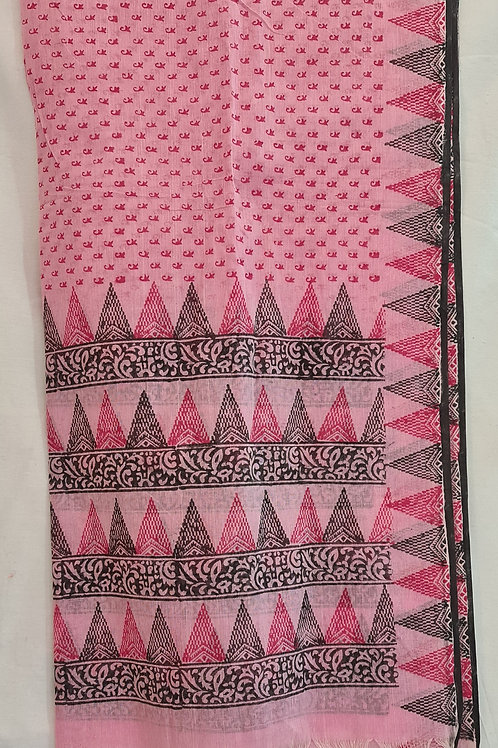 Pure Cotton Dupatta In Soft Pink Colour With Temple Border