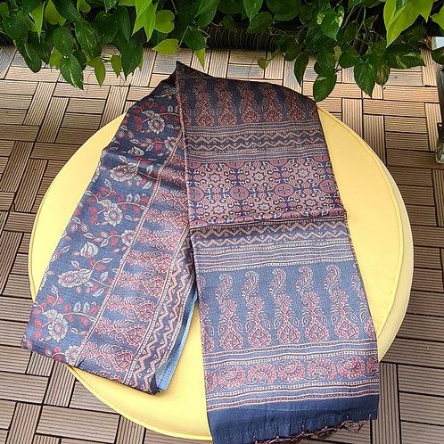 Chanderi Masrise Silk Saree In  Faded Denim Colour
