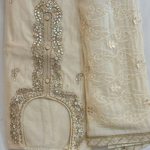 Dress Material In Floral White  Soft Silk With Gota Patti  Work