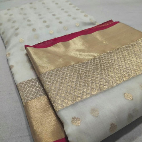 Handloom Chanderi Katan Silk Saree In White And Gold  Border