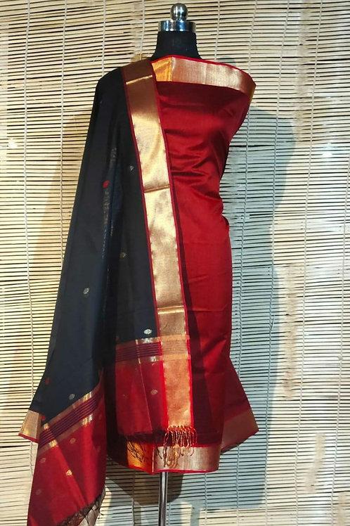 Maheshwari Cotton Silk Dress Material In Red And Black Colour