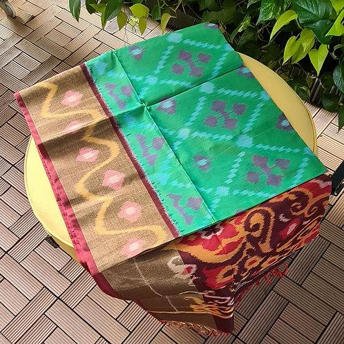 Ikkat Cotton Silk Saree In Seafoam Colour With Gold Zari Border