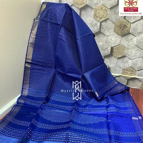 Tussar Handloom Silk  Saree In Naive Blue And Golden Zari Border