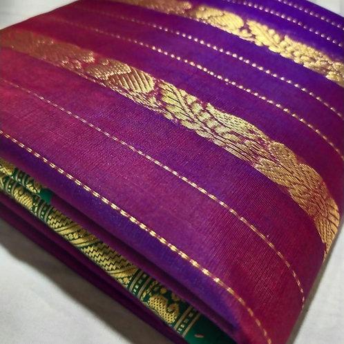 Chanderi Katan Silk Saree In Mulberry Purple Colour