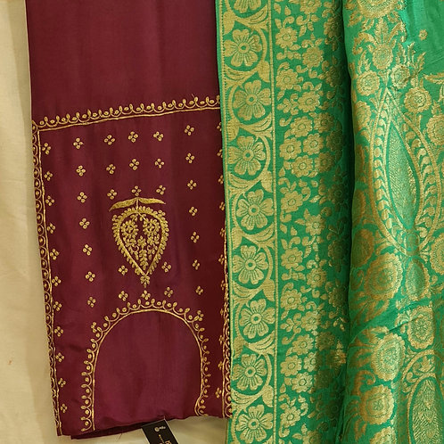 Dress Material In Soft Modal Muslin Silk In Dark Voilet And Spring Green Colour