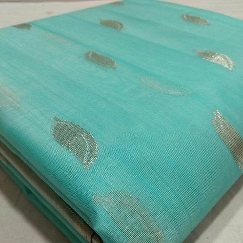 Chanderi  Katan Silk Saree In Electric  Blue  Colour