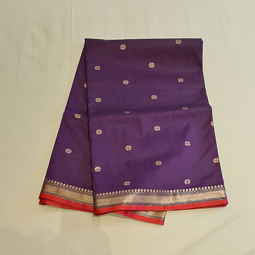 Banarsi Maheshwari Silk Saree In Grape Wine Colour And Red  Combination
