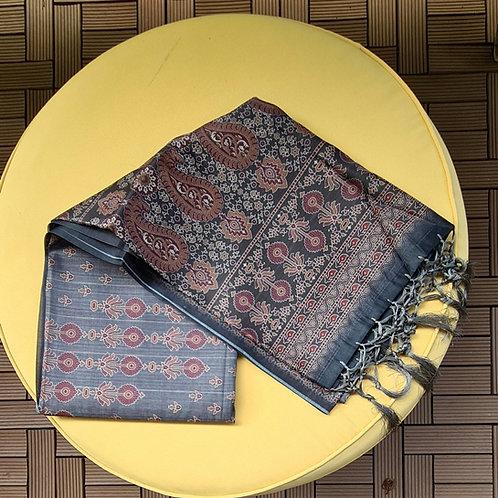 Chanderi Masrise Silk Saree In  Stone Grey Colour