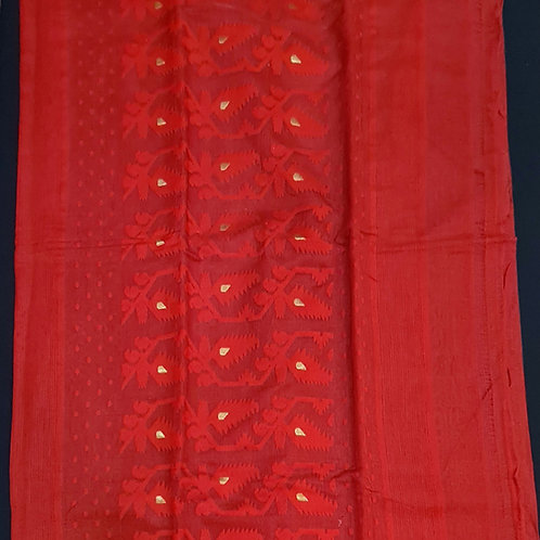 Dhakai Jamdani Saree In Red Colour With Gold Zari Pallu