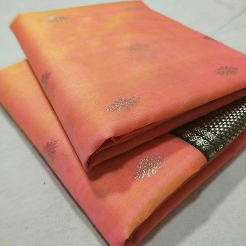 Chanderi Katan Silk Saree In Squash Orange Colour With Silver Zari Weaving