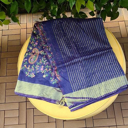 Handloom Linen Khadi Cotton Saree In Blue Voilet Colour