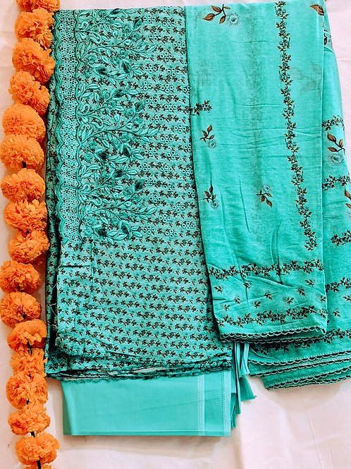 Cotton Dress Material In Cyan Blue Colour With Hand Embroidery And Cut Work