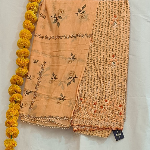 Cotton Dress Material In Squash Colour With Hand Embroidery And Cut Work
