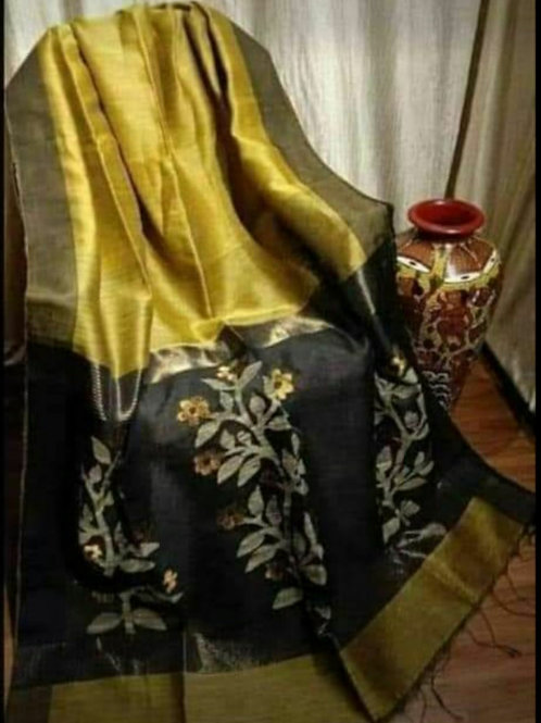 Linen Khadi Cotton Saree In Yellow Colour With Gold Zari Weaving