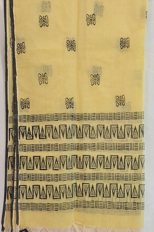 Pure Cotton Dupatta In Soft Yellow Colour With Geometric  Designs