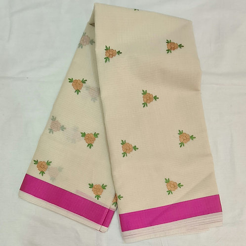 Kota Saree In Old Lace Colour With Hand Embroidery