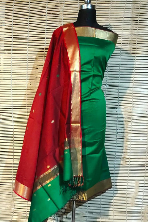 Chanderi Cotton Silk Dress Material In Green And Red  Combination