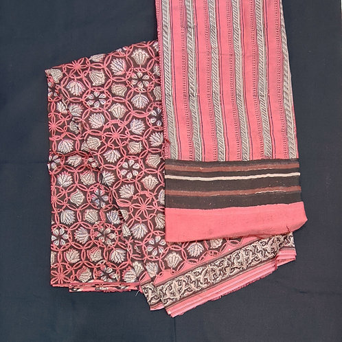 Dress Material In Cotton Silk  With Kalamkari Print All Over