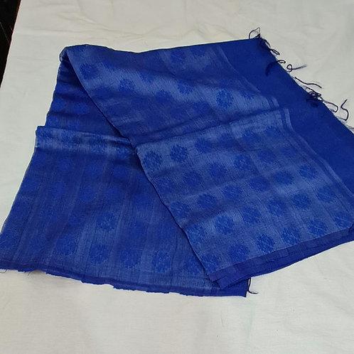 Linen Silk Saree In Royal Blue Colour
