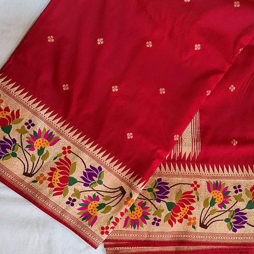 Banarsi  Katan Silk Paithani Saree In Red Colour