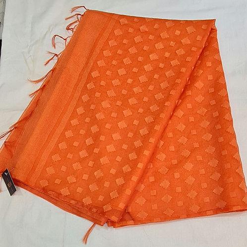 Linen Silk Saree In Squash Orange Colour
