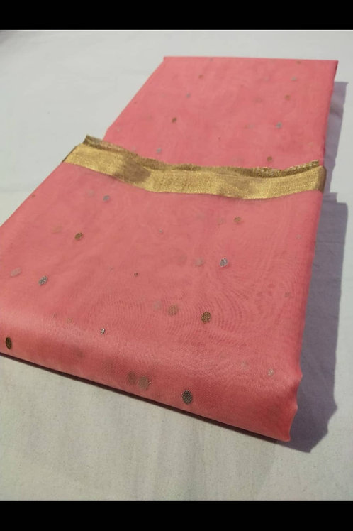 Chanderi Handloom Katan Silk Saree In Soft Pink Colour