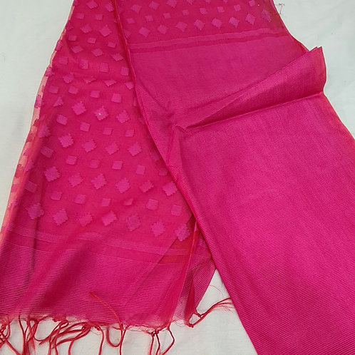 Linen Silk Saree In Hot Pink Colour
