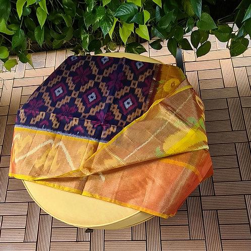 Ikkat Cotton Silk Saree In Deep Royal Purple Colour