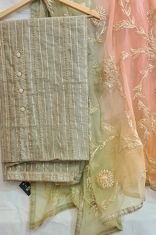 Cotton Dress Material In Honey Dew And  Soft Chiffon Dupatta In Peach Colour