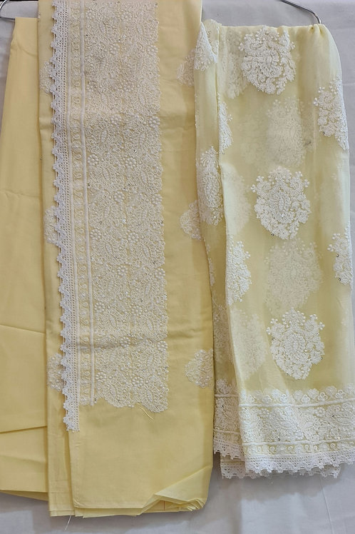 Cotton Dress Material In Soft Yellow Colour With Chikankari Work