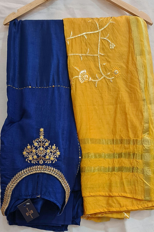Dress Material In Soft Modal Muslin Silk With Hand Embroidery And Zari Border