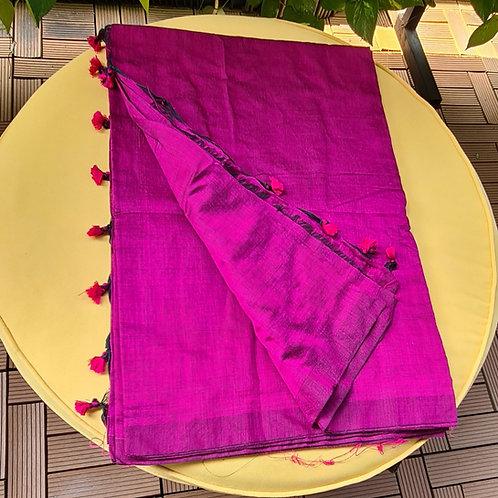 Khadi Cotton Handloom  Linen  Saree In Magenta Colour