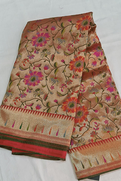 Banarsi Brocade In Subtle Golden And Red  Colour  With Zari Weaving