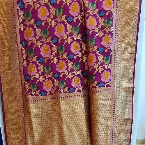 Banarsi Katan Silk Saree In Magenta Colour With Gold Zari Border