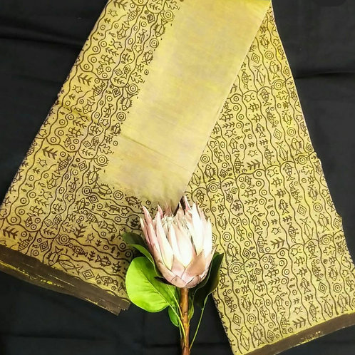 Cotton Saree In Jaipur Hand Block Print In Chartreuse Colour