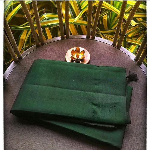 Kanjivaram Pure Silk Saree In Bottle Green Solid Colour