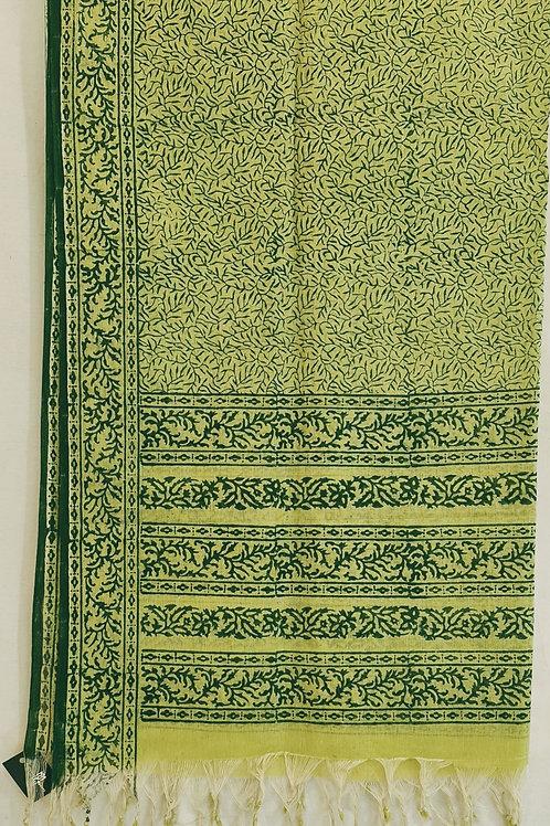 Pure Cotton Dupatta In Mint Green