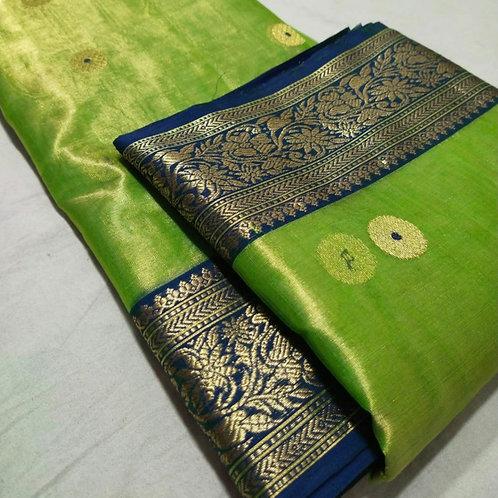 Handloom Chanderi Katan Silk Saree In Mint Green With Naksh Border