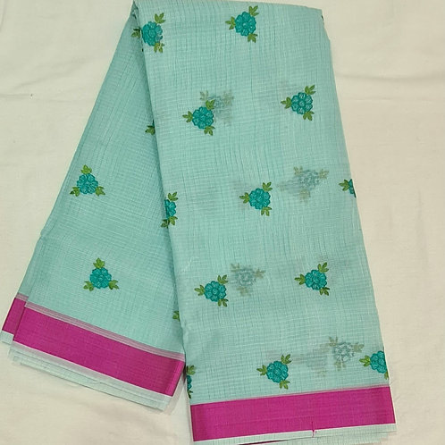 Kota Saree In Electric Blue Colour With Hand Embroidery