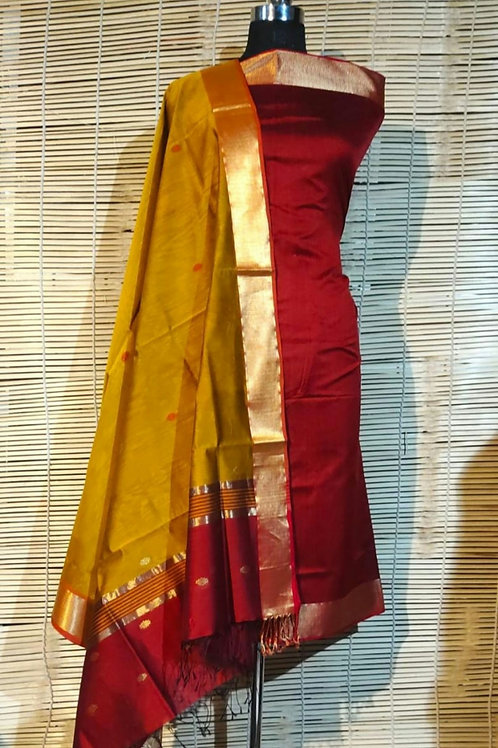 Maheshwari Cotton Silk Dress Material In Red And Mustard  Combination
