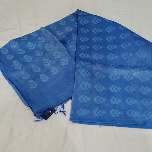 Linen Silk Saree In Carolina Blue Colour