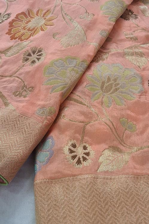 Banarsi Katan Silk Saree In Peach Colour With Paisley Pattern All Over