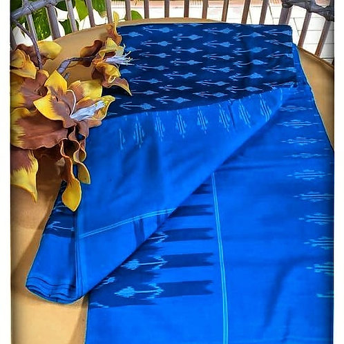 Pochampally Ikkat Mercirised Cotton Saree With Blouse Piece In Ink Blue Colour