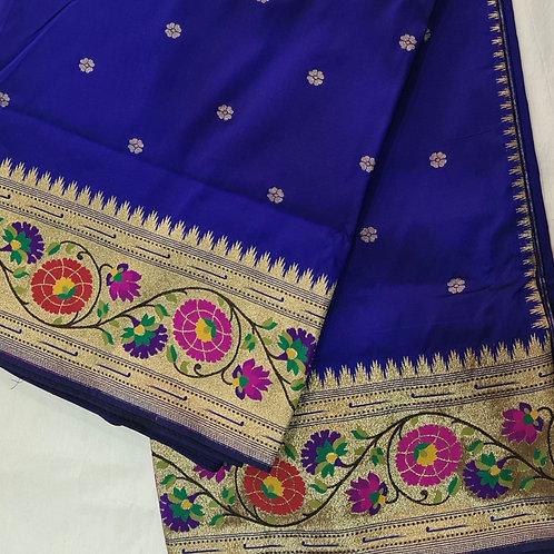 Banarsi Katan Silk Paithani Saree In Navy Blue Colour