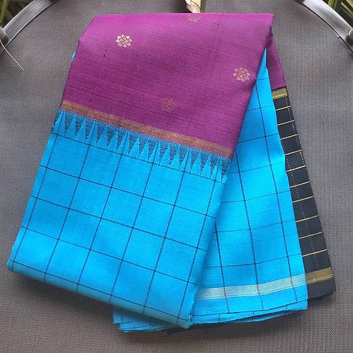 Kanjivaram Pure Silk Saree In Half An Half Pattern In Blue, Purple, Black