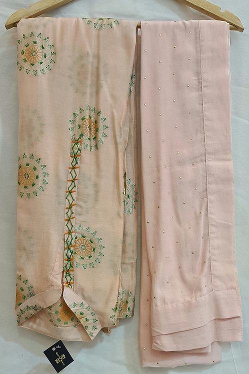 Dress Material In Soft Modal Muslin Silk In A Peachpuff  Colour In  Badala Work