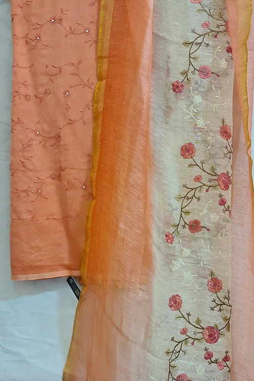 Cotton Dress Material In Soft Squash Colour With Hand Embroidery And Mirror Work