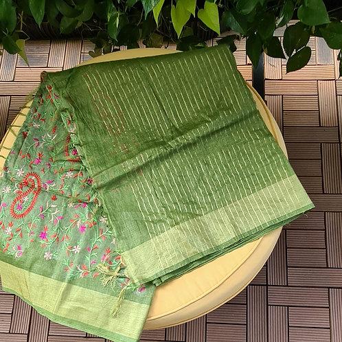 Handloom Linen Khadi Cotton Saree In Fern Green Colour