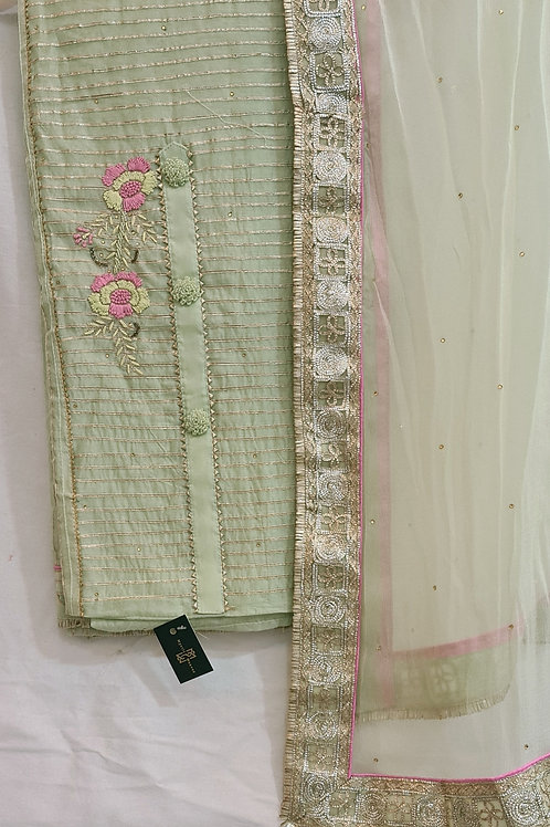 Dress Material In Willow Green Colour With Hand Embroidery