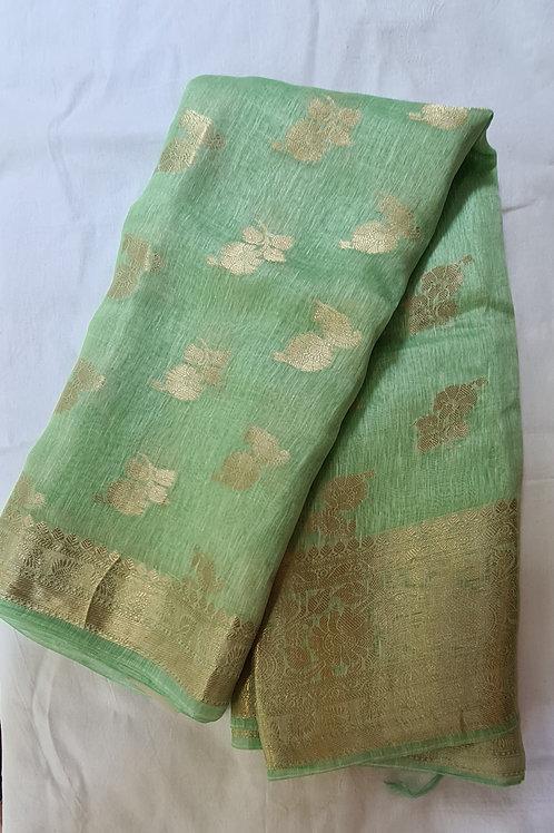 Pista Colour Handloom Chanderi Silk Saree With Gold Zari Weaving